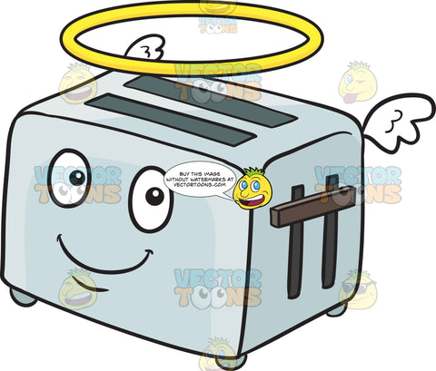 Angelic Pop Up Toaster Smiling With Wings And Halo Emoji