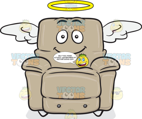 Angelic Stuffed Chair Smiling With Halo And Wings Emoji
