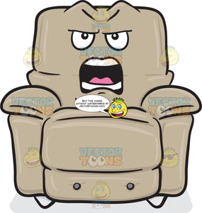 Angry And Provoked Stuffed Chair Emoji