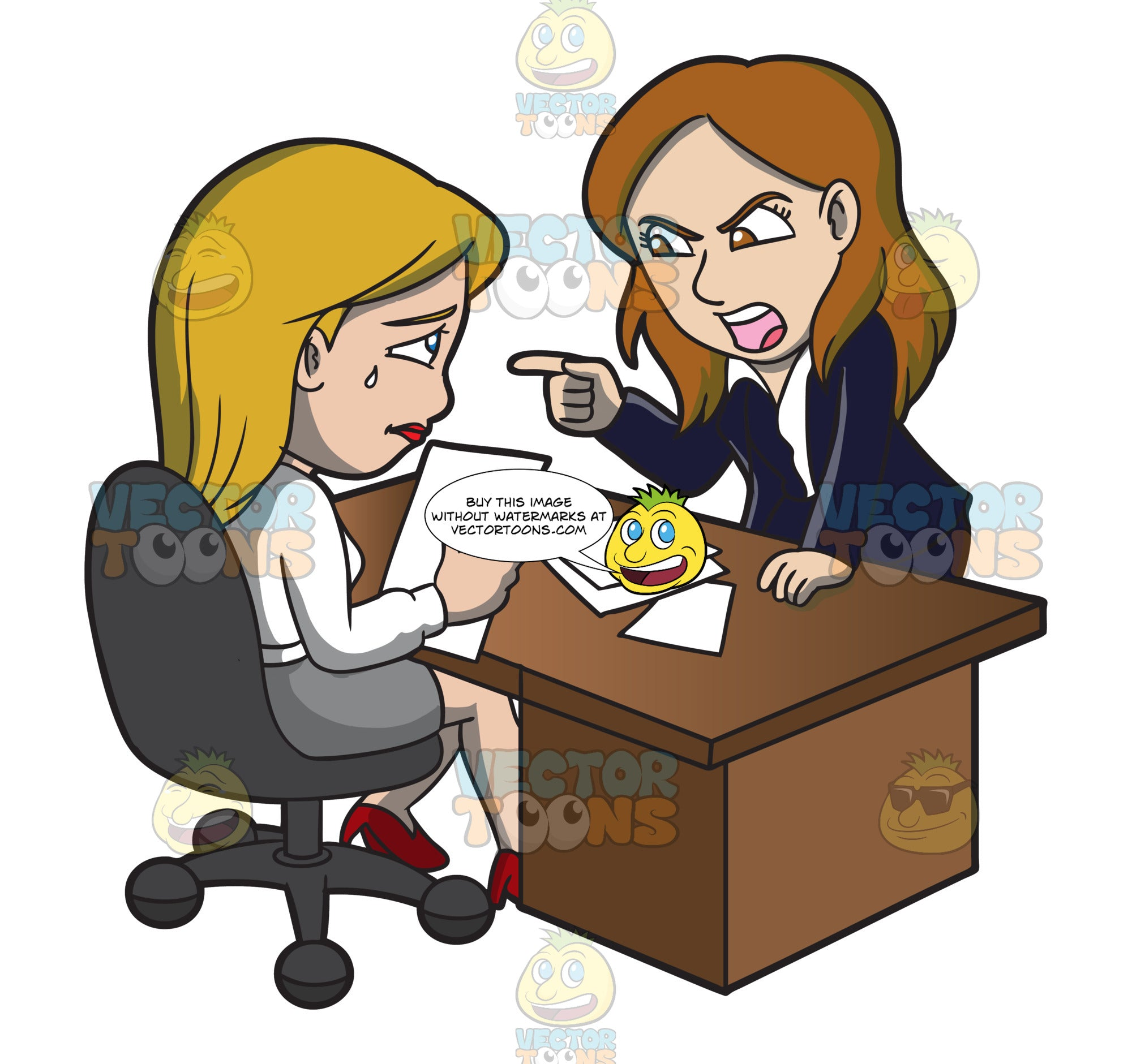 A Female Boss Scolding Her Assistant At Work