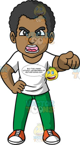 Jimmy Pointing And Yelling At Someone. A black man, wearing green pants, a white t-shirt, and orange and white sneakers, standing with one hand on his hip, pointing his finger with the other hand, and yelling at someone he is angry with
