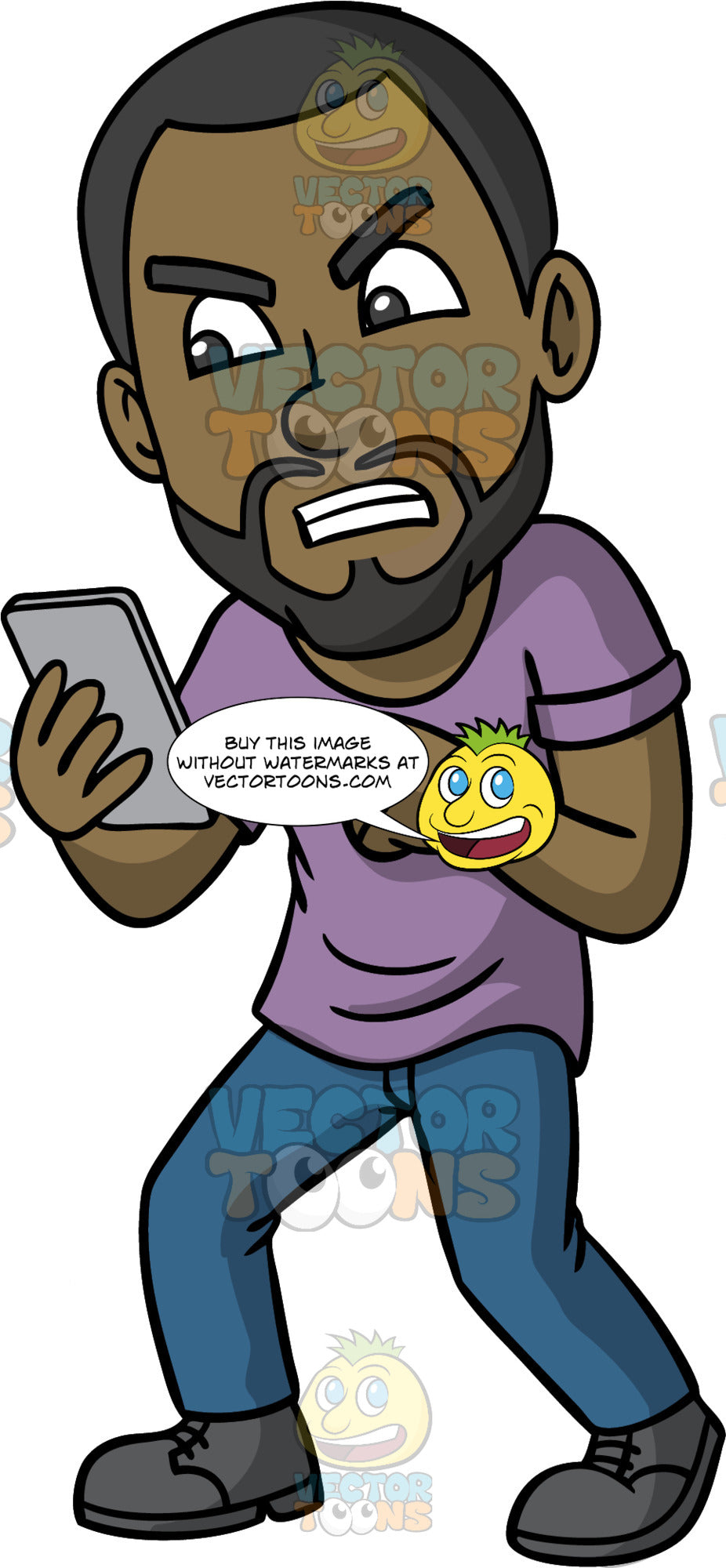 Calvin Infuriated With A Text He Received. A black man with a beard, wearing blue pants, a purple shirt, and dark gray shoes, standing with a cell phone in one hand, and a very angry look on his face