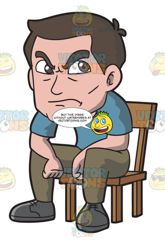 An Angry Man Sitting On A Chair