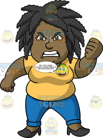Lisa Looking Furious With Someone. A black woman wearing blue pants, a buttercup yellow shirt, and black high heels, standing with a super annoyed look on her face, and shaking her fist