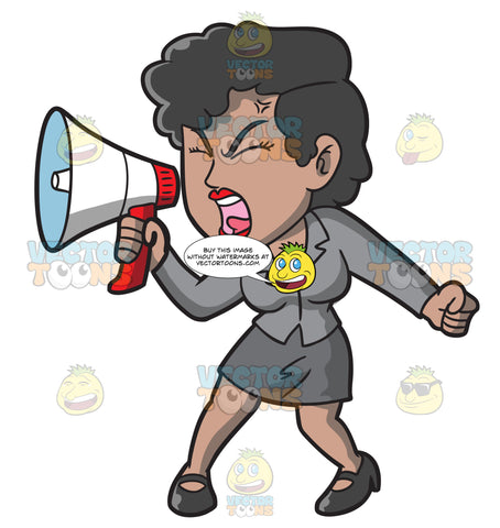 A Woman Yelling Something Into Her Megaphone