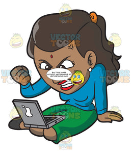 An Indian Woman Getting Angry While Surfing The Internet