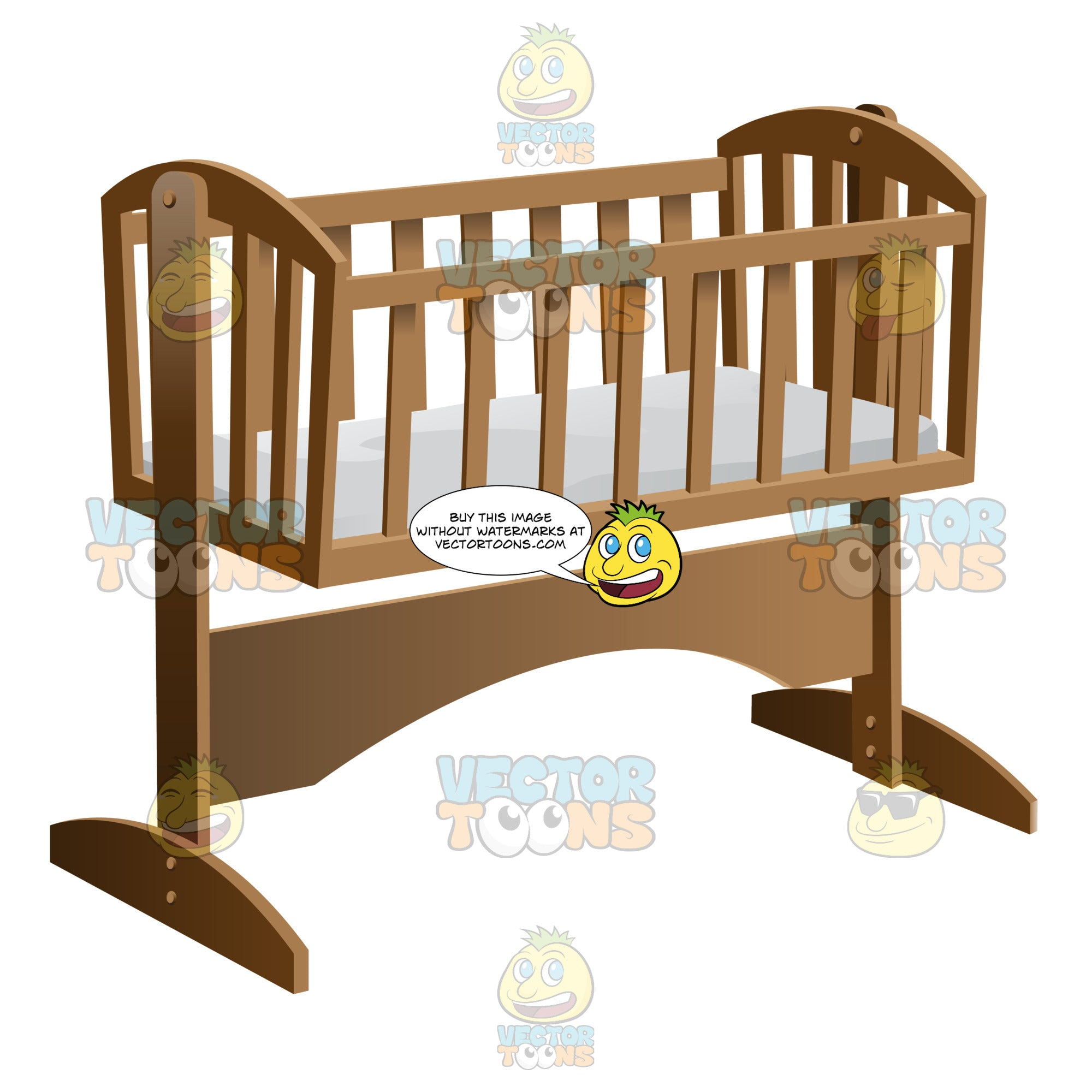 An Old Fashioned Rocking Baby Crib With Mattress Clipart