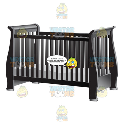 An Old Fashioned Dark Gray Baby Crib With Mattress