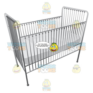 A Metallic Baby Crib With A Soft White Mattress