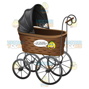 A Vintage Basket Style Stroller With Metal Wheels