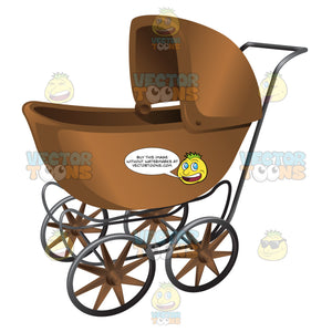 A Brown Vintage Stroller With Folding Shade
