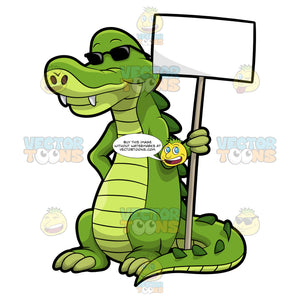 Arthur The Alligator Holding A Signboard