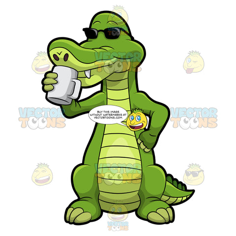 Arthur The Alligator Drinking Coffee