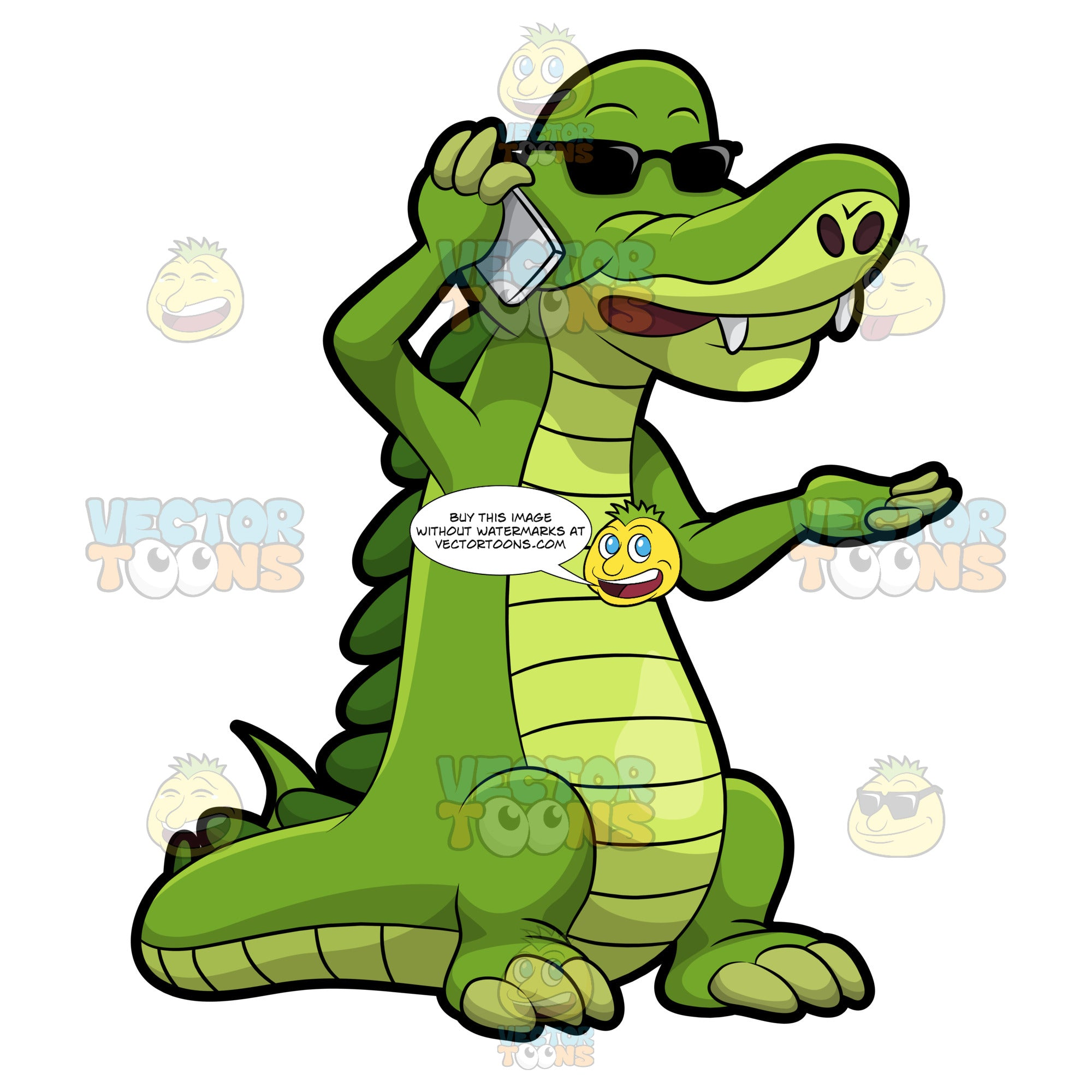 Arthur The Alligator Places A Call Using His Cellphone