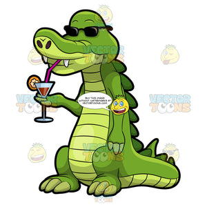 Arthur The Alligator Enjoying His Favorite Cocktail Drink