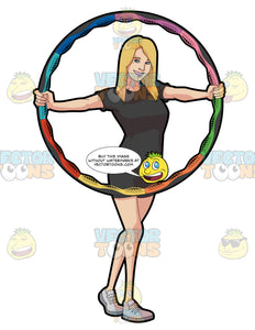 A Woman Showing A Colorful Hoop