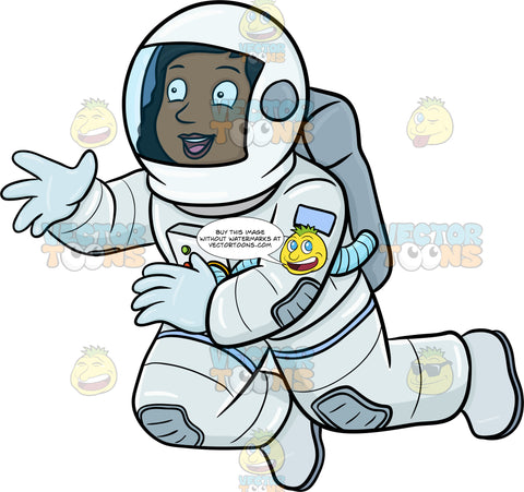 A Happy Black Female Astronaut Seeing Something Interesting While Drifting In Space