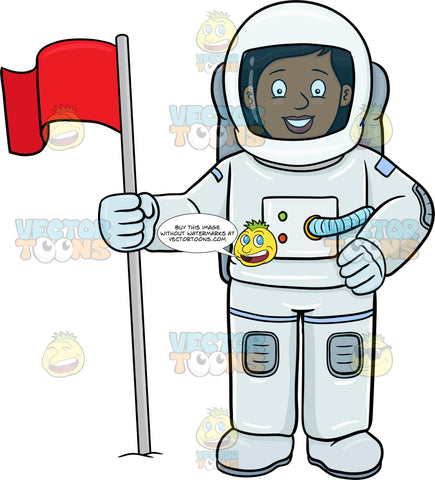 A Black Female Astronaut Smiles After Setting A Flag On A Foreign Surface