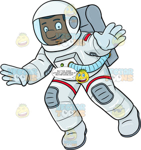 A Black Male Astronaut Smiles While Drifting In Space