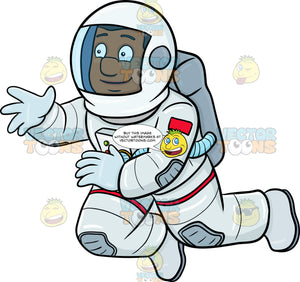 A Happy Black Male Astronaut Seeing Something Interesting While Drifting In Space