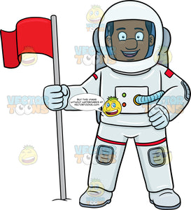 A Black Male Astronaut Smiles After Setting A Flag On A Foreign Surface