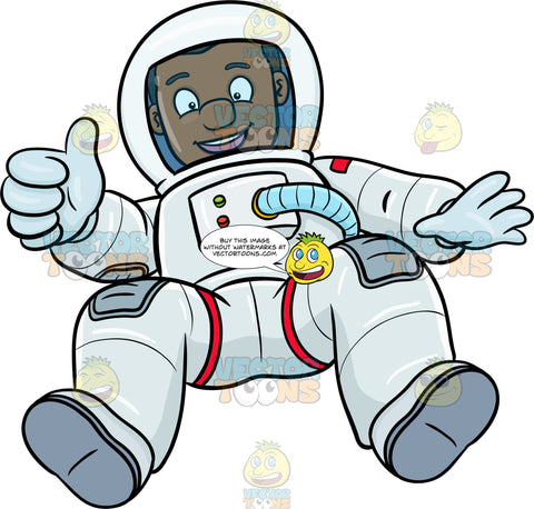 A Black Male Astronaut Happily Drifts In Space