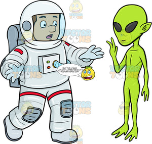 A Male Astronaut Shocked By A Waving Alien