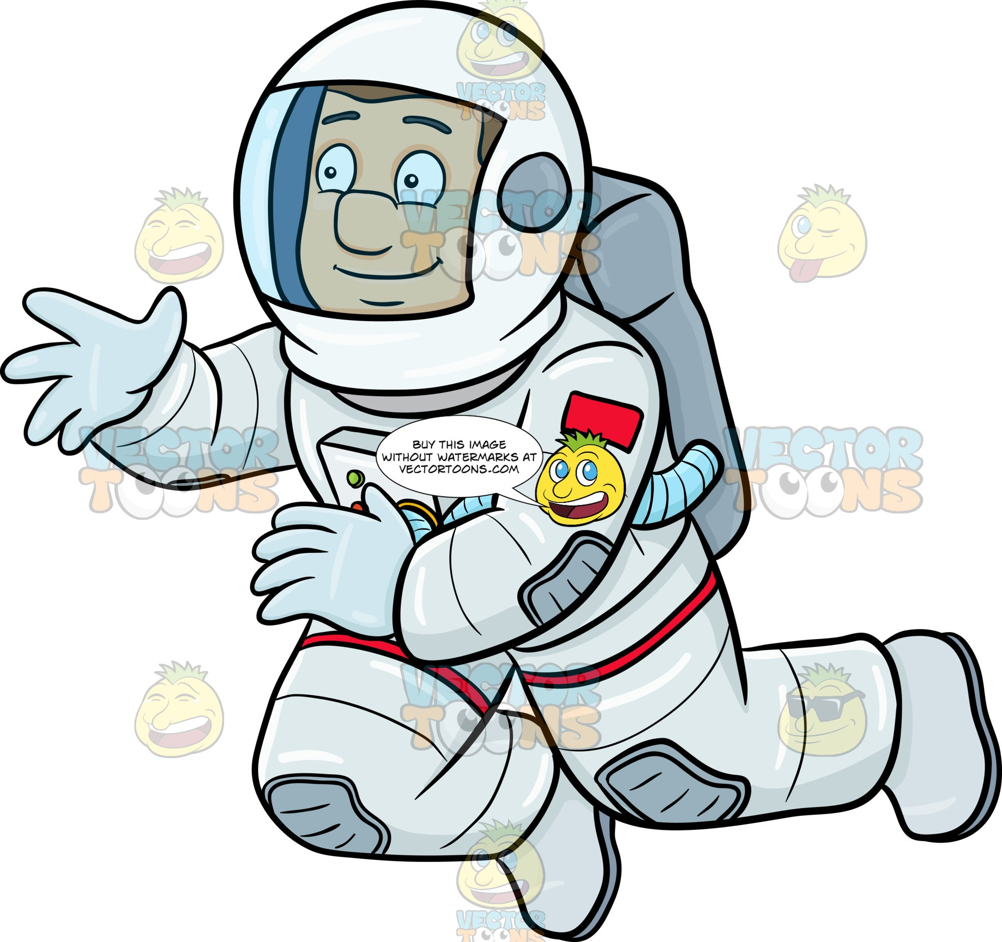 A Happy Male Astronaut Seeing Something Interesting While ...