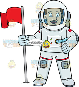 A Male Astronaut Smiles After Setting A Flag On A Foreign Surface