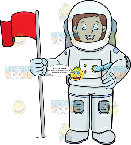 A Female Astronaut Smiles After Setting A Flag On A Foreign Surface