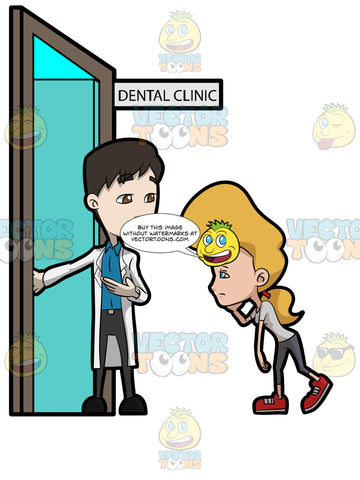 A Dentist Assisting A Woman To Enter His Dental Clinic