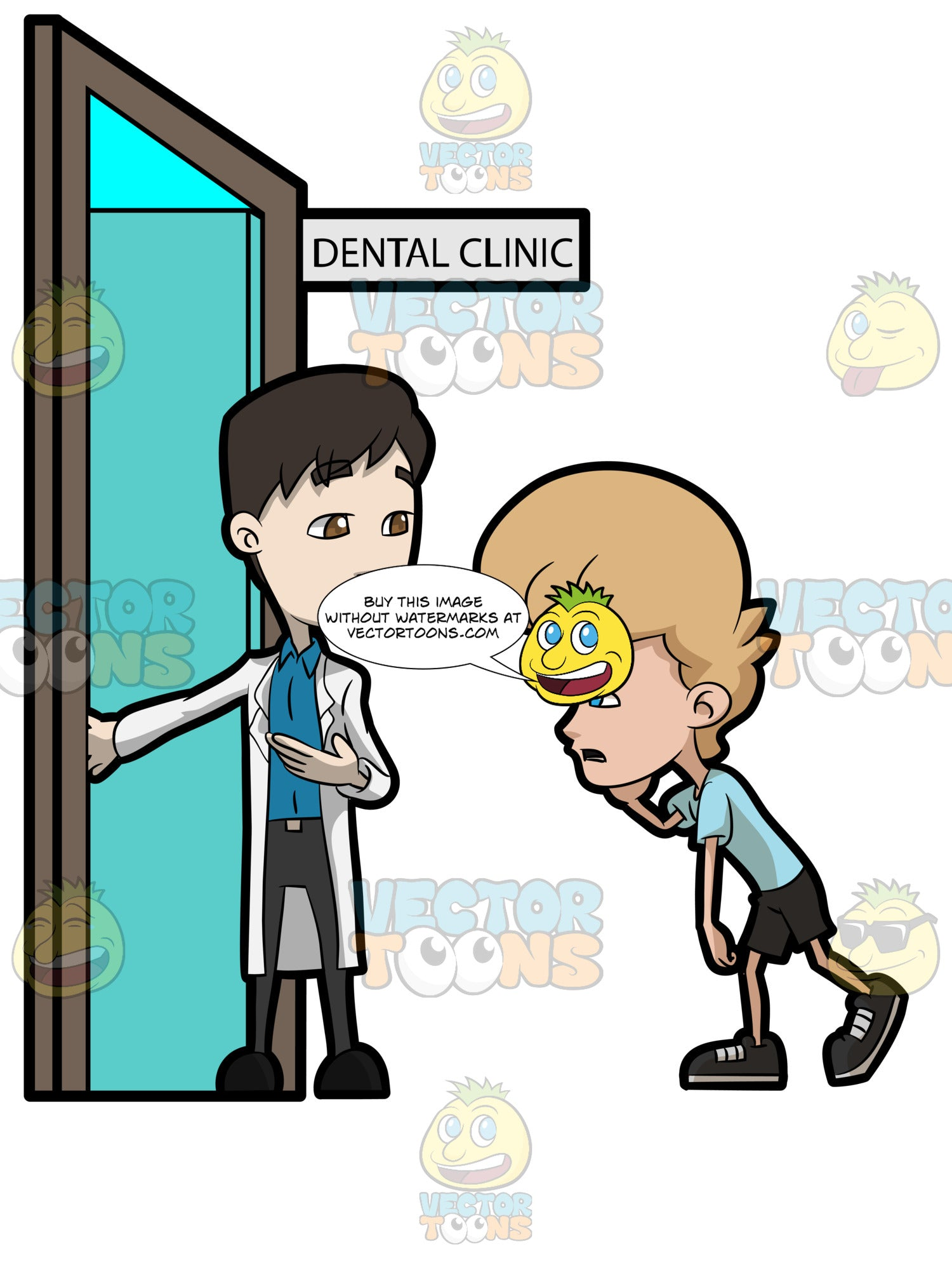 A Dentist Assisting A Teenage Boy To Enter His Dental Clinic
