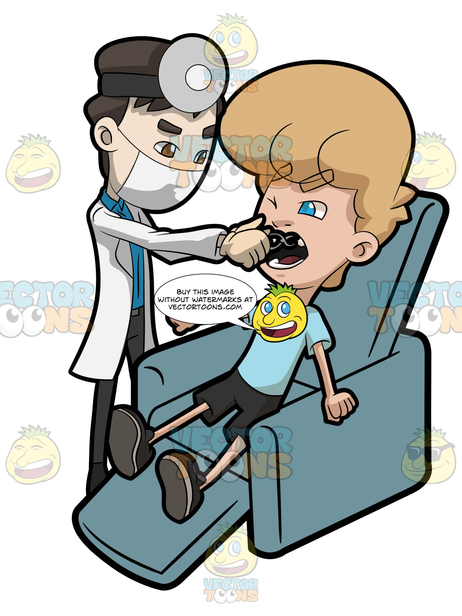 A Dentist Performing Tooth Extraction On A Teenage Patient Clipart Cartoons By Vectortoons