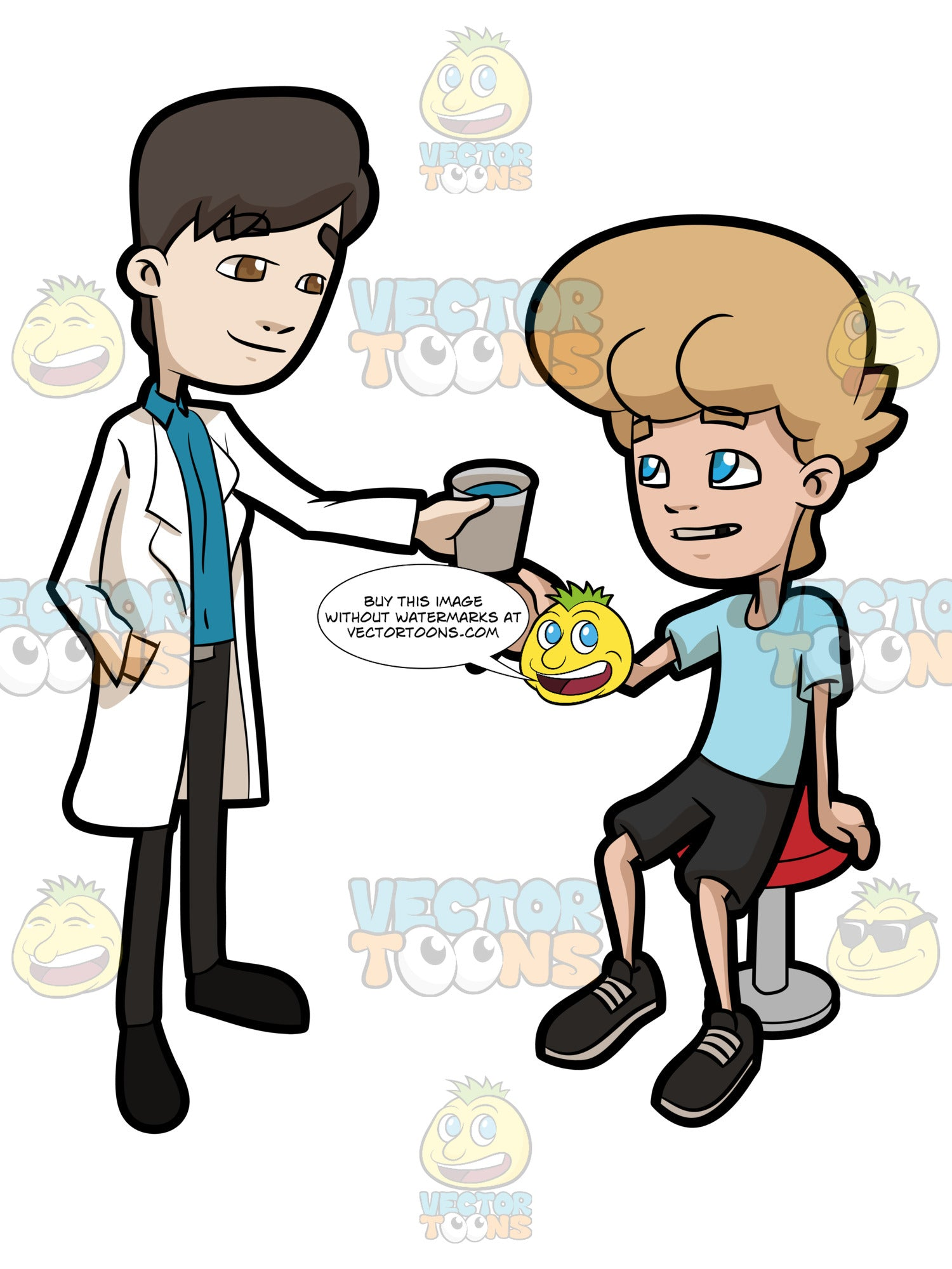 A Dentist Handing Out A Cup Of Water To A Teenage Boy