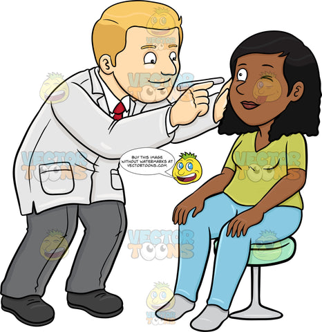 A Doctor Checking The Eye Of His Black Female Patient