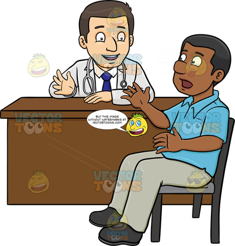 A Doctor Chatting With His Black Male Patient In The Consultation Room