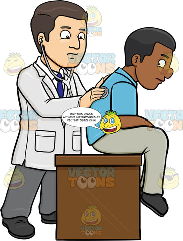 A Doctor Using A Stethoscope On His Black Male Patient To Check For Any Breathing Complication