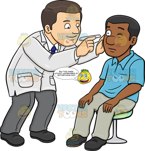 A Doctor Checking The Eye Of His Black Male Patient