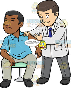 A Doctor Injecting A Vaccine On His Black Male Patient