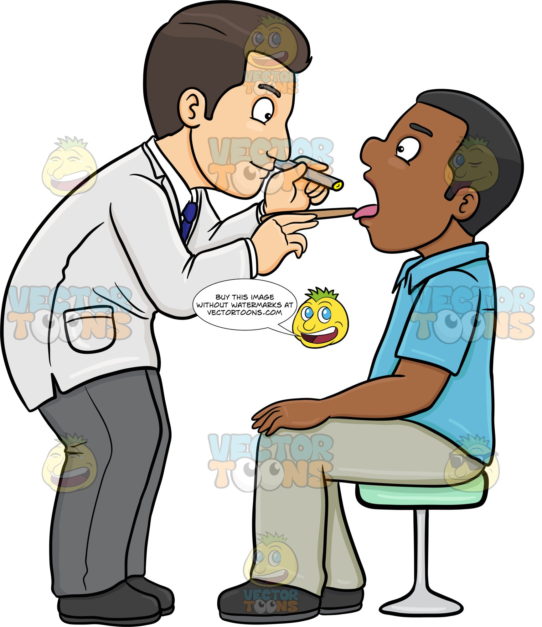A Doctor Checking The Throat Of A Black Male Patient
