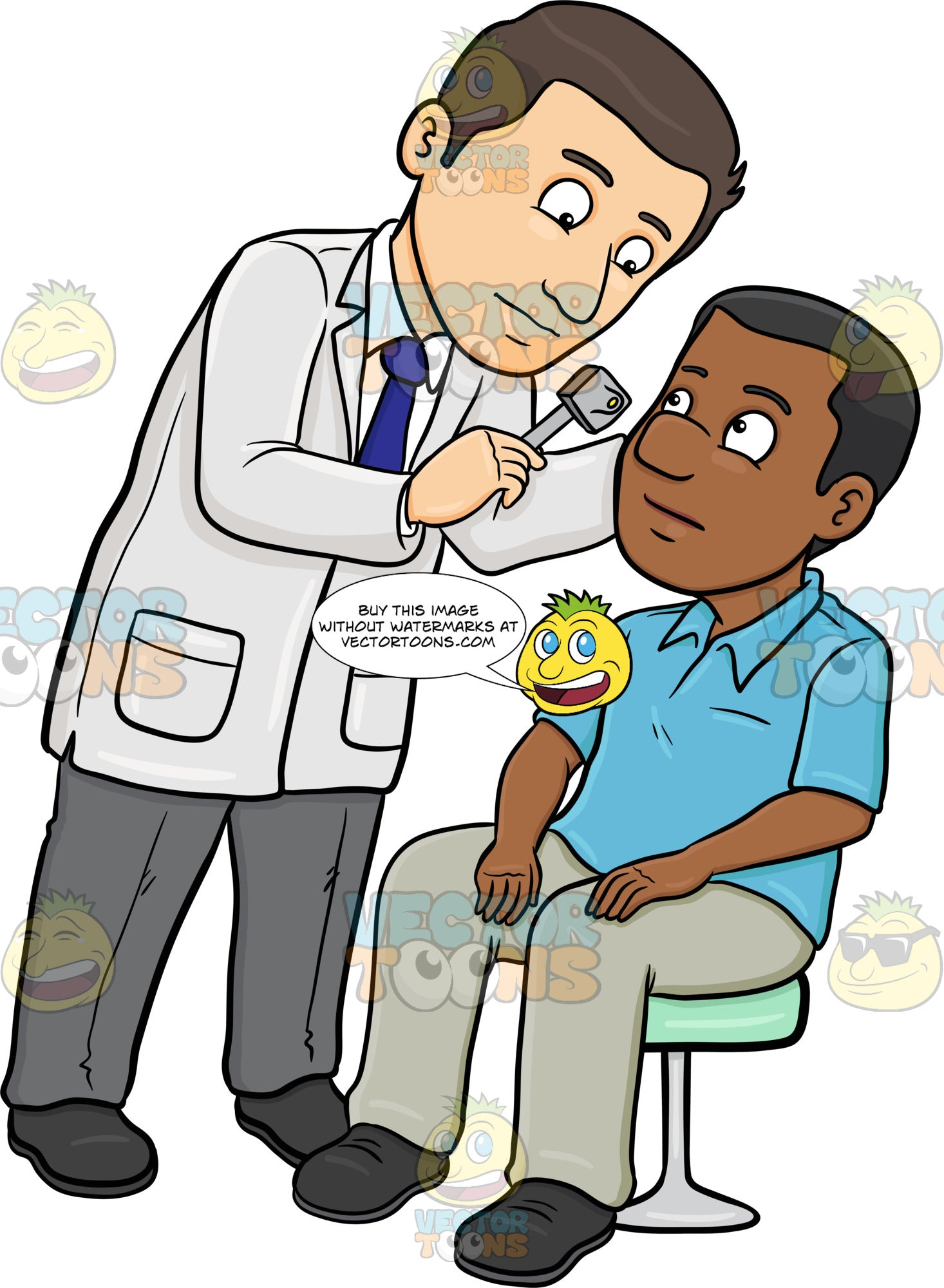A Doctor Using A Tool To Check Up A Black Male Patient