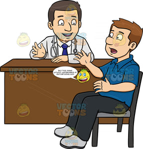 A Doctor Chatting With His Male Patient In The Consultation Room