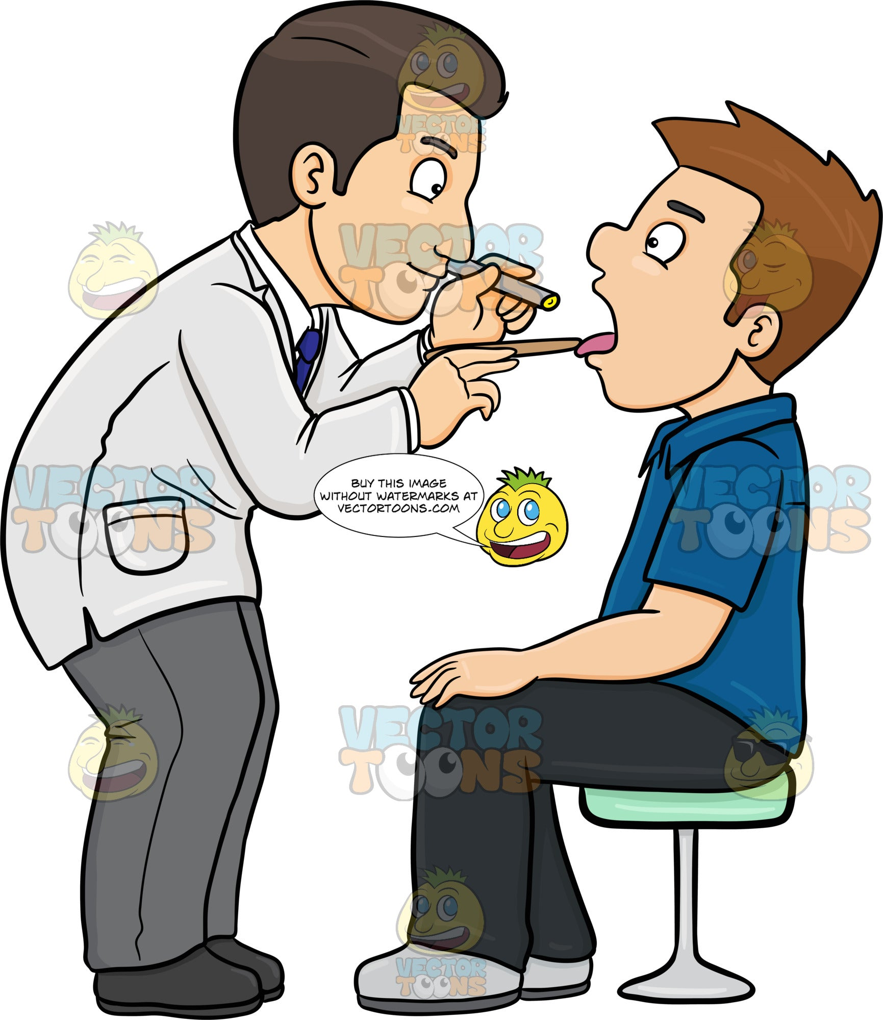 A Doctor Checking The Throat Of A Male Patient