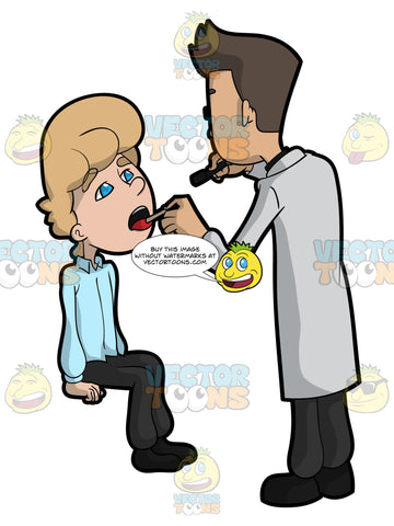 A Doctor Inspecting The Mouth Of A Patient For Any Infection