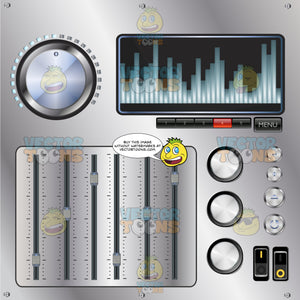 Grey Metal Dj Sound Mixing Board With Large Knob, Sliding Levels, Switches And Display Screen With Sound Wave Pattern