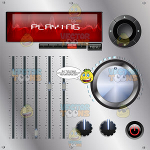 Mixing Desk Console With Red Sound Wave Display Screen, Sliders, Push Buttons