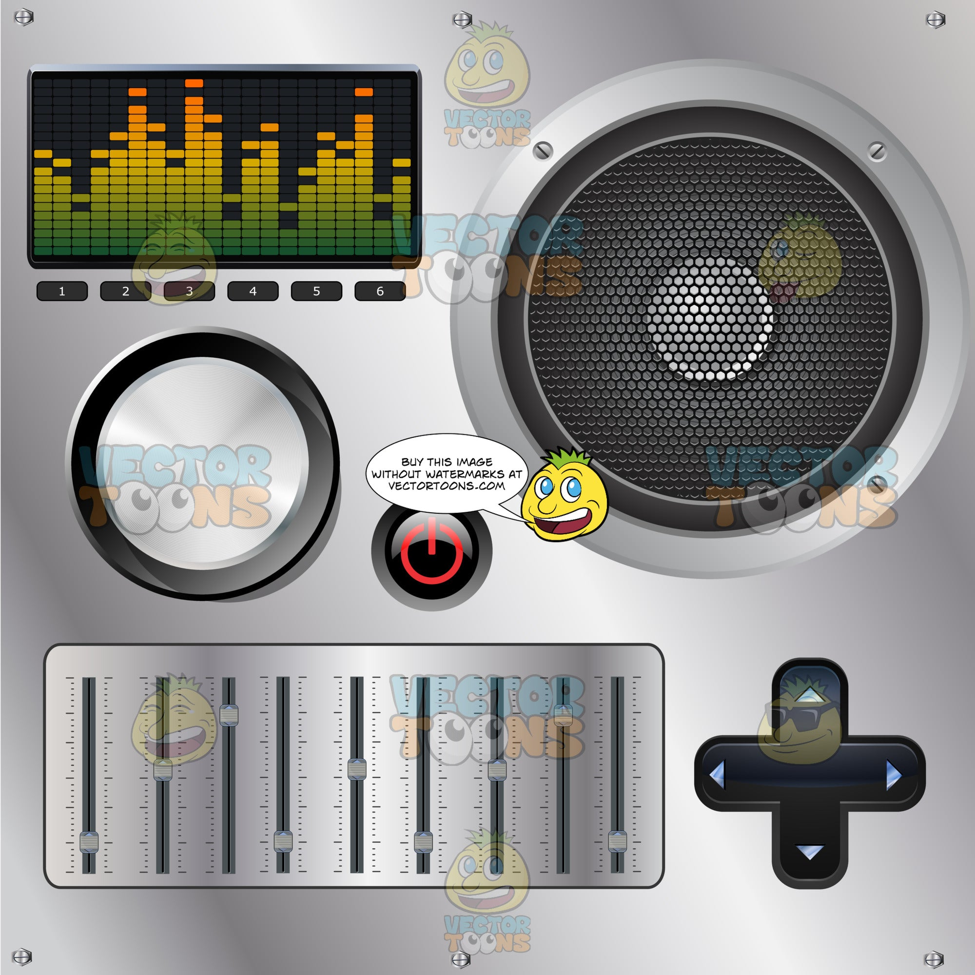 Multicolored Audio Level Display Sound Mixing Dj Board With Large Speaker,  Cross Buttons, Push Buttons, Faders And Knob