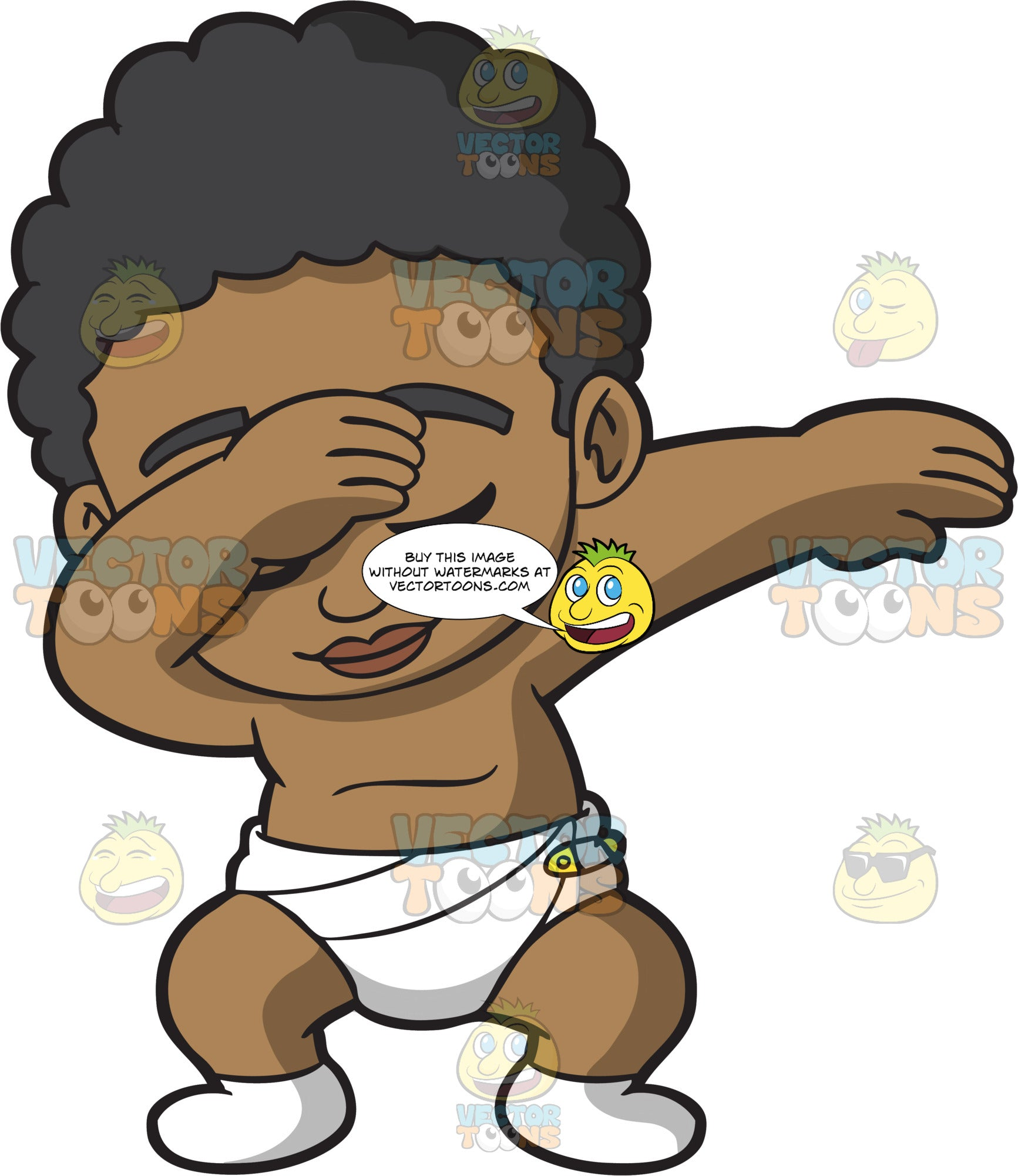 A Dabbing Black Baby Boy Clipart Cartoons By Vectortoons