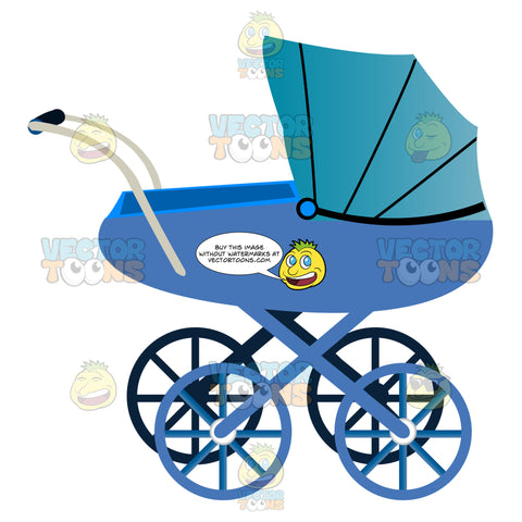 Blue Four Wheel Old Fashioned Covered Baby Buggy Carriage With Silver Push Handles