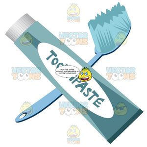 Blue Toothbrush And Blue Tube Of Toothpaste With White Label